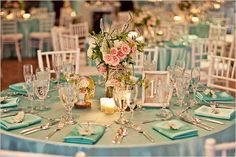 teal and pink table setting