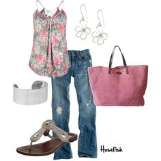 Warm weather is definitely the forecast for this outfit. Soft rose hues make it absolutely gorgeous.