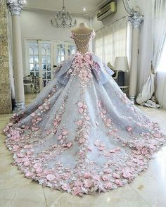 Wedding dress with lace flowers pink vintage unique elegant ball gown