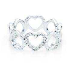Want! Tiffany & Co.   Item   Heart ring in 18k white gold with diamonds.   United States