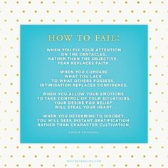 How To Fail by Chuck Swindoll. Great questions to ask yourself for 2014 goal planning.
