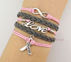 Infinity Wish, Love and Breast Cancer Awareness Charm Bracelet in Silver - Breast Cancer Awareness Ribbon - Friendship Gift on Etsy, $5.99