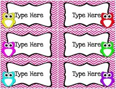 "Dress up your classroom AND get organized! ""Owls and Chevron Classroom Decor Labels You Can Edit!"" Provided in Word format. $"