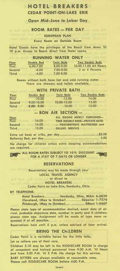 Breakers Hotel rates at cedar Point 1953
