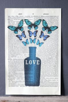Antique Book Paper Prints - Love Potion with Butterflies - Unframed