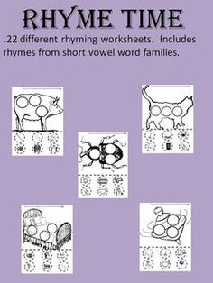 This file contains 22 different rhyming worksheets that includes 22 short vowel rhyming word families.  Students will focus on one rhyming word fam...