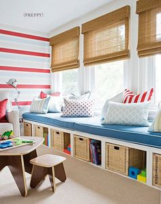 Play room idea... turn long ikea bookshelves sideways and make pillow top cushions.