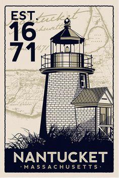 Nantucket Massachusetts Light House Retro Vintage