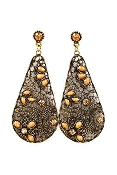 Folk Art Teardrop Earrings on Emma Stine Limited