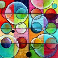 Painting On Canvas Ideas Circles   ... SMALL IDEAS- ORIGINAL Abstract painting, collage, circles, BIG 20 x 20
