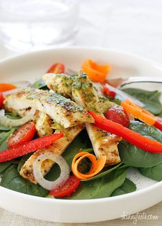 Grilled Chicken and Spinach Salad with Balsamic Vinaigrette   5 WWP+