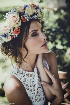 boho flower crown and lace top
