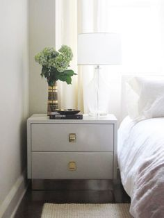 bedrooms - glass lamp glossy white lacquer 2 drawer nightstand white ...