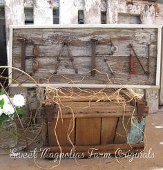 """Barn"" Wood Sign  Upcycled  Vintage Hardware  by SweetMagnoliasFarm, 55.00"