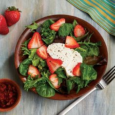 This kidney-friendly Strawberry and Goat Cheese salad is ready in less than 10 minutes and makes a perfect light, spring lunch. Get this recipe and more plus helpful kidney diet tips in Today's Kidney Diet: Fresh Spring recipes. Download for free!