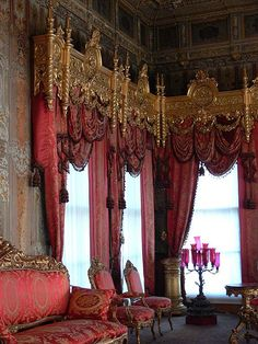 Some of the most opulent cornice boards I've ever seen.  Victorian designers and homeowners left no detail unembellished.  Over-the-top included walls, ceilings, and drapes.