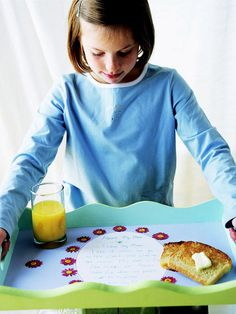 a customized tray with a child's artwork and special words, such a sweet Mother's Day gift!