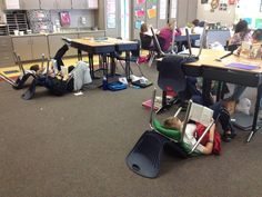 Everyone reads in their own space using their chair and a pillow. Clever!