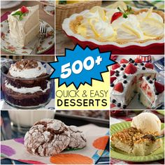 You can never have too many dessert recipes! From cakes and pies to fluffs, trifles, cookies, and more...you'll find it all in this collection of over 500 dessert recipes!