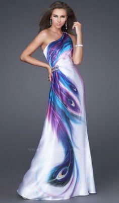 Peacock dress...... Soooo pretty! I think it might be a bit much.