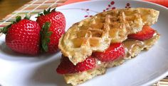 """30 Healthy Breakfast Snacks for Mornings on the Run. Never thought of doing a waffle """"sandwich"""" w/ a whole grain waffle."""