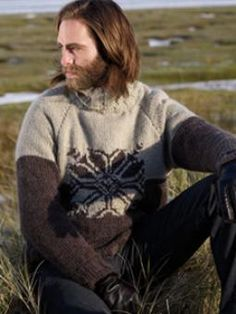 This intarsia snowflake chunky sweater has been designed by Martin Storey using Cocoon.