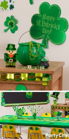 You don't need luck to pull off a St. Patrick's Day classroom party! Entertain the wee ones with tales of leprechauns and class activities, while dazzling them with holiday décor. Decorate desks with pot o' gold centerpieces that are filled with shamrocks, chocolate coins and party favors from Party City!