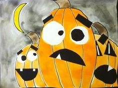 Overlapping Expressive Pumpkins elementary art education lesson project Halloween autumn fall collage painting