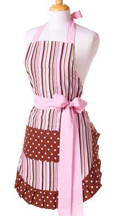 Pink Striped Apron