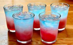 Bomb Pop Shots (1/3 oz Sprite 1/3 oz lemon vodka 2/3 oz blue curacao 2/3 oz grenadine)
