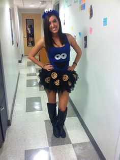 Homemade halloween costume, college halloween costumes, cookie monster costume