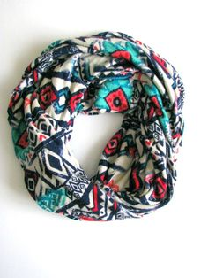Aztec Print Infinity Scarf Soft Jersey Loop by FeathersandFancy, $38.00