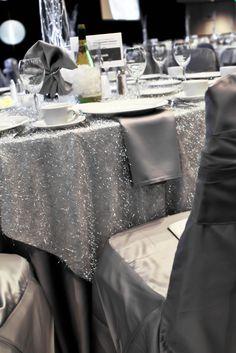 shimmery silver wedding table cloth   silver wedding table decor  - beautifully elegant!
