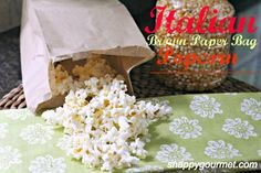 Italian Brown Paper Bag Popcorn - homemade microwave popcorn + list of fun popcorn toppings (@snappygourmet.com)