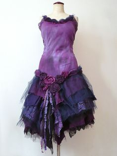 Gothic Prom Costume Bride Bridesmaid Purple Violet Black Tutu Lace Distressed Dress For Wedding Dancing Party By Zollection (Custom Order)