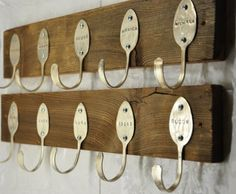 Spoon Racks: Flatten and bend spoons, and then nail them onto wooden planks to make a really cool-looking spoon rack. Source: Etsy user Jeremy N Jen Evensen