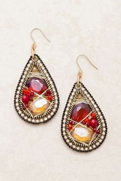 Ruby Fale Crystal Teardrop Earrings on Emma Stine Limited