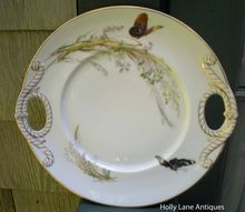 Antique Haviland Limoges Cake Plate Meadow Visitors Butterflies    $225.00