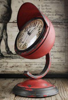 Red retro table clock