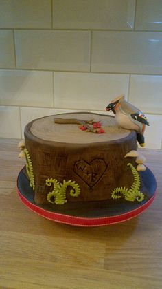Waxwing Tree Stump Cake | Flickr