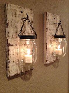 Rustic barn wood mason jar candle holders. Set of 2. on Etsy, $35.00