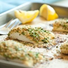 Baked Halibut with Sour Cream, Parmesan, and Dill Topping | Halibut ...