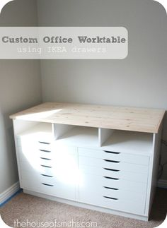 From Ikea Alex drawers to custom work table >> Nice idea for the printing/paper table!