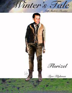 Katherine Nowacki's costume sketch of Florizel in A Winter's Tale. Actor: Tyee Tilghman.