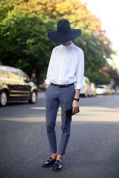 hat, white blouse, classic pants