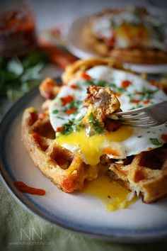 herb waffles with sausage peppers and a fried egg recipes herb waffles ...