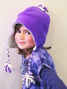 Girl version of Warm Winter Hat (Dinosaur) - same pattern and tutorial
