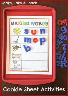 Cookie Sheet Activities for early literacy skills- rhyme, ABC order and word building. Great for centers!