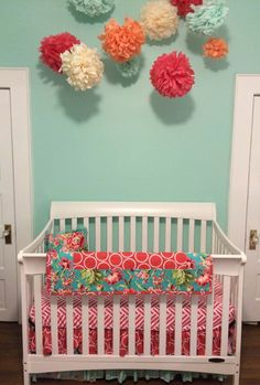 Bright and cheerful pink baby girl bedding from @studioslumber #pnapproved