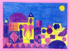 4th Grade - Klee's Castle - Shape, color pencil on sulfite, sky in chalk pastels.  Adapted from http://spotofcolor.blogspot.com/